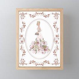 Sparkle Rose Gold Diamonds Pattern Girl Fashion Framed Mini Art Print