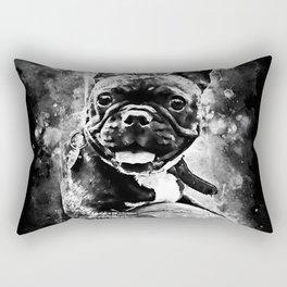 french bulldog basketball splatter watercolor black white Rectangular Pillow