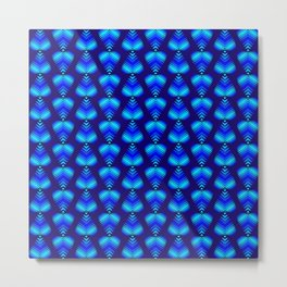 Abstract pattern of blue iridescent hearts and stripes. Metal Print