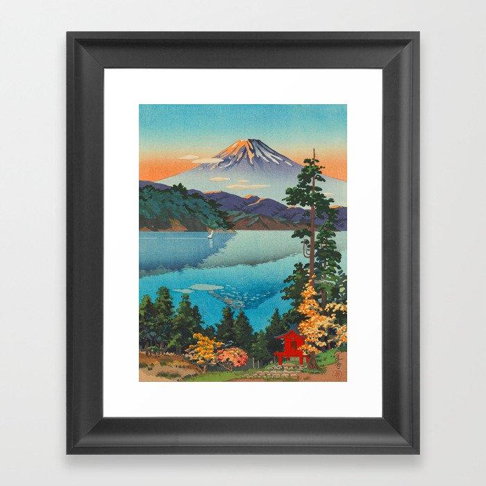 Tsuchiya Koitsu Vintage Japanese Woodblock Print Fall Autumn Mount Fuji Gerahmter Kunstdruck