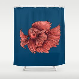 Coral Siamese fighting fish Shower Curtain