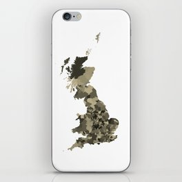 Great Britain Map Print Abstract in Camouflage Desert - A great talking piece for the home! iPhone Skin