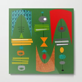 Mid-Century Modern Green Tiki Tok Metal Print