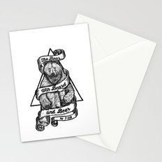 The Bear with Beard and Beer Stationery Cards