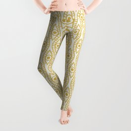 Vintage Golden Evil Eye Ogee Geometric Pattern, Hand-painted Eyes, Beautiful Oil Paint Texture on Light Beige Canvas Leggings