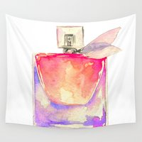 perfume Wall Tapestries featuring Pink Perfume fashion illustration  by Koma Art