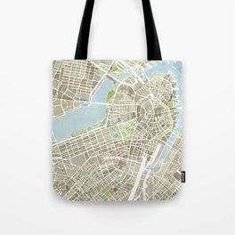 Boston Sepia Watercolor Map Tote Bag
