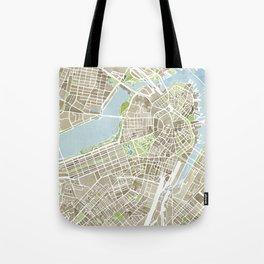 Boston Sepia Watercolor Map Tote Bag