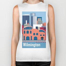 Wilmington, Delaware - Skyline Illustration by Loose Petals Biker Tank