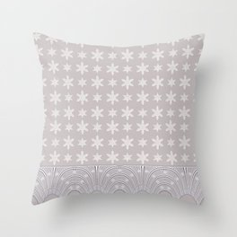 Lacy Mocha Pattern with Creamy Chenille Stars Throw Pillow