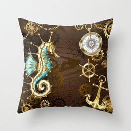 Wooden Background with Mechanical Seahorse ( Steampunk ) Throw Pillow