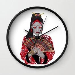 Red Geisha Girl Wall Clock