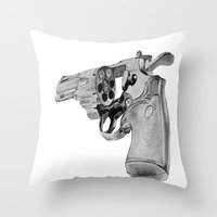gun Throw Pillows featuring gun by VoicesRantOn