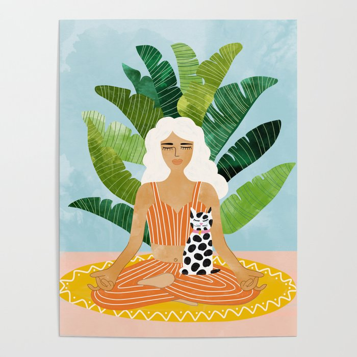 Meditation With Thy Cat #illustration #painting Poster