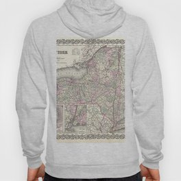 New York Map print from 1855 Hoody