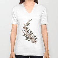 antler V-neck T-shirts featuring Floral Antler by Jessica Roux