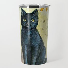 Merry Halloween Black Cat Travel Mug
