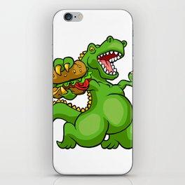 dinosaur eating hamburger iPhone Skin