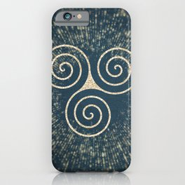 Triskelion Golden Three Spiral Celtic Symbol iPhone Case