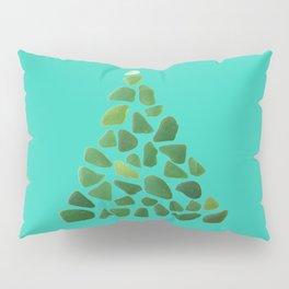 Green Sea Glass Tree on Turquoise #seaglass #Christmas Pillow Sham
