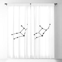 Virgo Star Sign Black & White Blackout Curtain