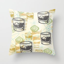 Dad Is Home Retro Midcentury Whiskey Pattern Throw Pillow