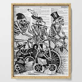 Calavera Cyclists | Skeletons on Bikes | Day of the Dead | Dia de los Muertos | Black and White | Serving Tray
