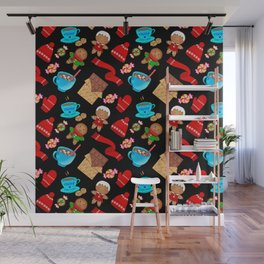 Cozy winter Christmas pattern. Happy gingerbread men, chocolate, hot cocoa, candy. Wall Mural