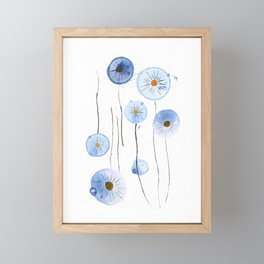 blue abstract dandelion 2 Framed Mini Art Print