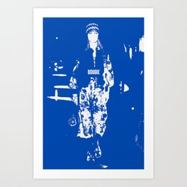 BOUGIE FASHION MODEL BLUE AND WHITE Art Print