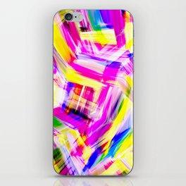 Neon Pink Yellow Brushstroke Explosion Art iPhone Skin