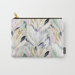 Pastel Shimmer Feather Leaves on Gray Carry-All Pouch