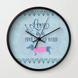 Dog Love four legged word Wall Clock