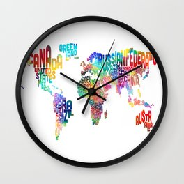 Typography Text Map of the World Wall Clock