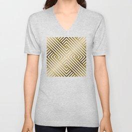 Art Deco Gold and Alabaster White Geometric Pattern Unisex V-Neck