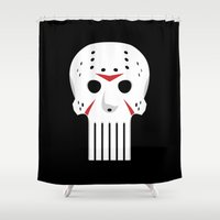 punisher Shower Curtains featuring Beware of Camp Castle Lake by Bizarro Tees