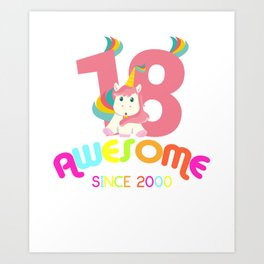 Awesome Since 2000 Unicorn 18th Birthday Anniversaries Art Print