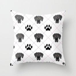 Black Great Dane Paw Print Pattern Throw Pillow