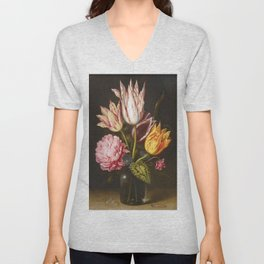 Still Life with Bouquet of Tulips, Rose, Clover in Glass Bottle by Ambrosius Bosschaert Unisex V-Neck