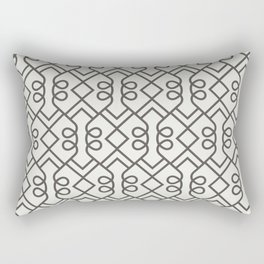 Brown and White Minimal Diamond Loop Pattern 2021 Color of the Year Urbane Bronze Extra White Rectangular Pillow