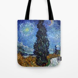 Vincent van Gogh - Road with Cypress and Star Tote Bag