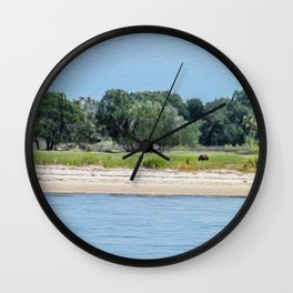 A Wild Horse Grazing on the Island Wall Clock
