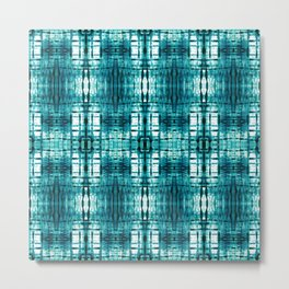 Aqua Shibori Plaid Metal Print