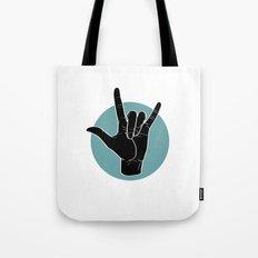 ILY - I Love You - Sign Language - Black on Green Blue 00 Tote Bag