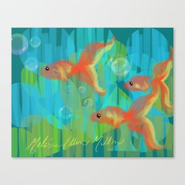 The Three Itty Bitties - Fish with an Orange Yellow Blue and Green Palette Canvas Print