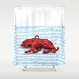 Red panther on blue grass Shower Curtain