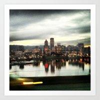 City Lights Portland Nights  Art Print