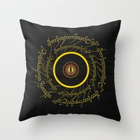lord of the ring Throw Pillows featuring Lord Of The Ring - Sauron Eye by Raisya