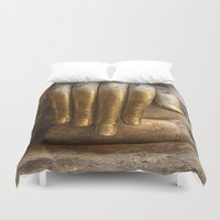 buddhism Duvet Covers featuring Golden Hand of a Buddha in Wat Sri Chum Thailand by Maria Heyens