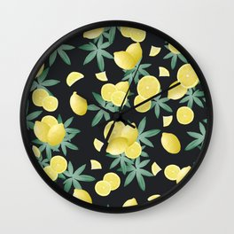 Lemon Twist Vibes #5 #tropical #fruit #decor #art #society6 Wall Clock